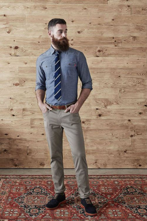 Mens Blue Oxford Shirt