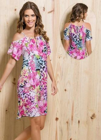 vestidos com ombro vazado floral