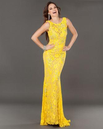 vestidos longos de renda amarelo