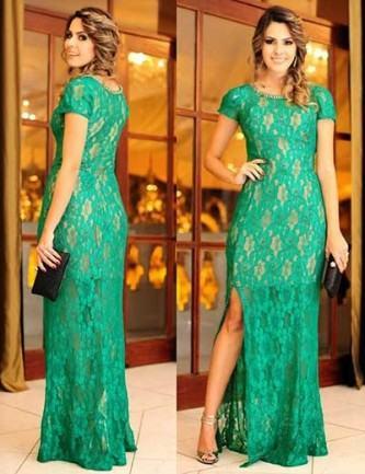 vestidos longos de renda com fenda
