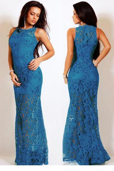 Vestido longo elegante azul com abertura na coxa