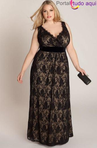 vestidos longos para gordas de renda