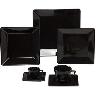aparelho de jantar preto quadrado