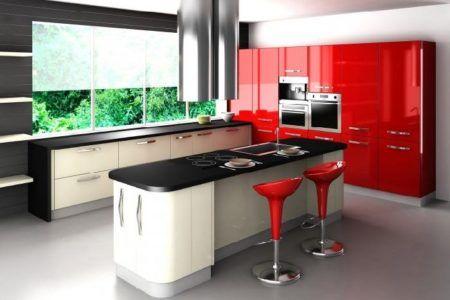 cozinhas modernas vermelho preto e branco