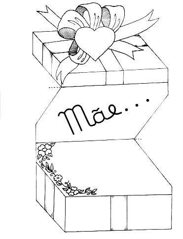 cartão para o dia das mães com imagem de caixa de presente