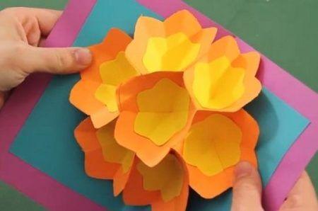 cartão para o dia das mães com origami