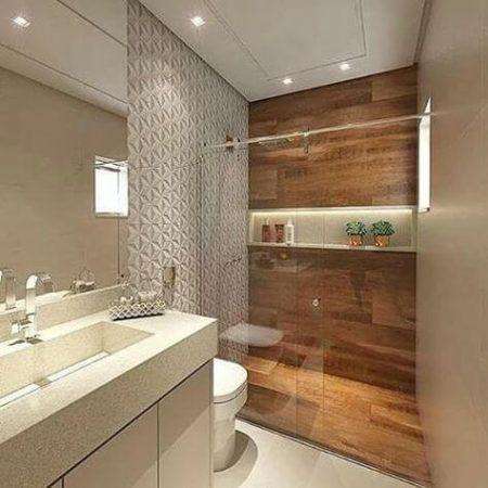 Decora o de banheiro pequeno e moderno bela feliz for Piso rustico moderno