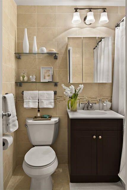 decoração pequena de banheiro marrom