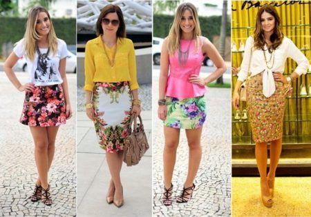 lindas saias estampadas com modelos da moda