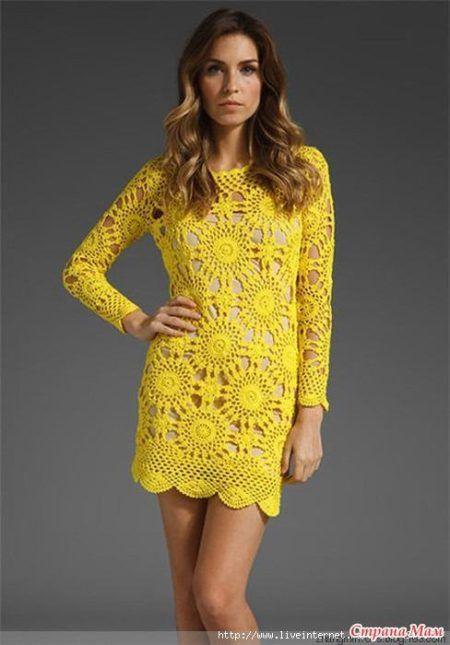 aa946cd16256 lindos vestidos de croche com graficos com mangas longas amarelo