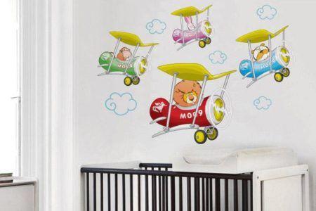 adesivos para quarto infantil de menino de aviões