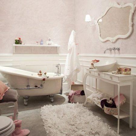 decoração moderna de banheiro com estilo provençal