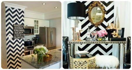 decorando com papel de parede chevron na cozinha