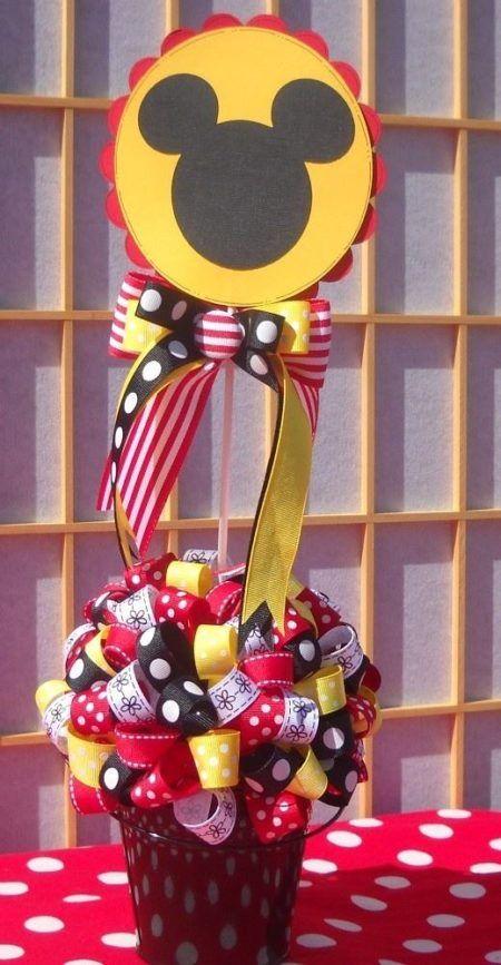enfeites do Mickey para aniversário vasinhos