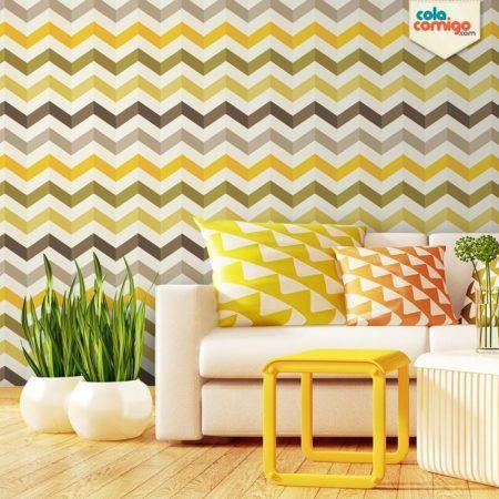 papel de parede em chevron na sala decorada