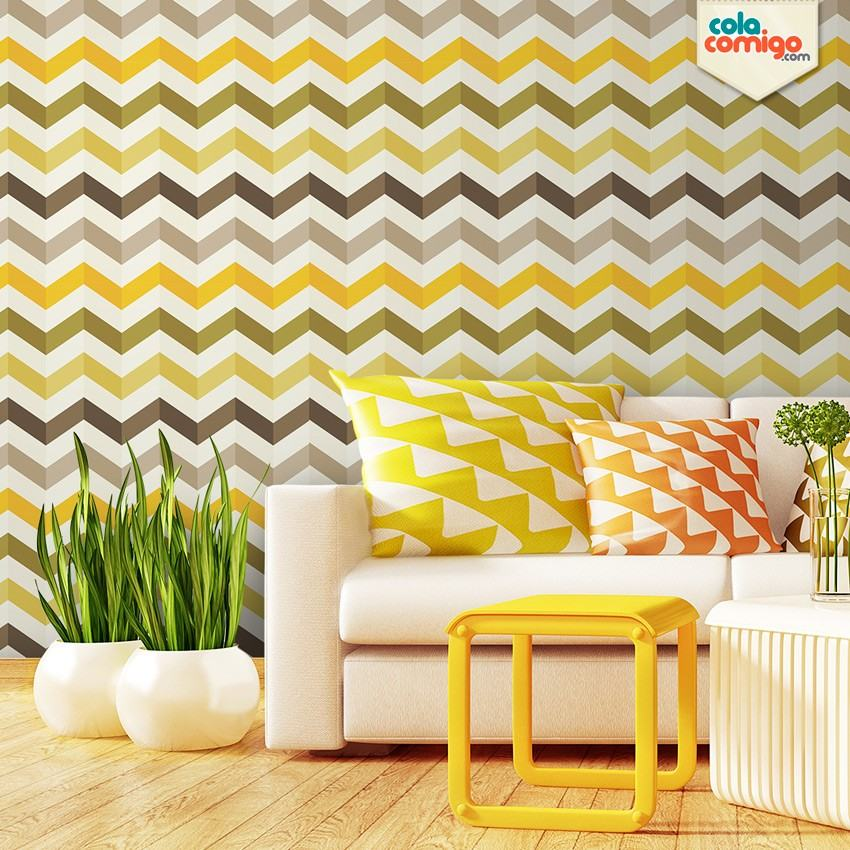Sala pequena decorada com papel de parede - Papel adhesivo para decorar ...