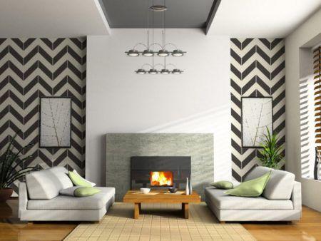 papel de parede em chevron na sala e ambientes