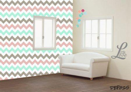 papel de parede em chevron na sala fotos
