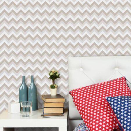 papel de parede em chevron no quarto