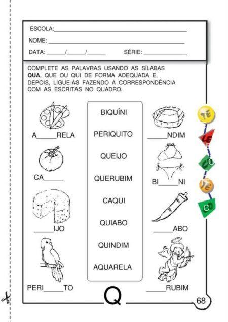 Atividades letra Q ensinar aprender