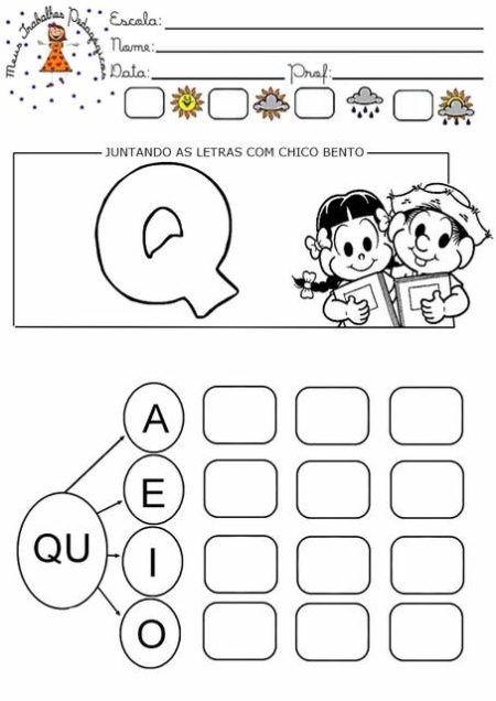 alfabetização letra q juntando as letras com chico bento