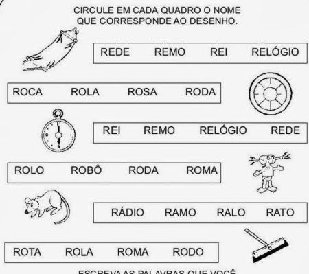 atividades escolares com a letra R