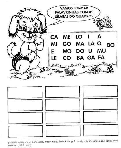 atividades escolares de formar palavras