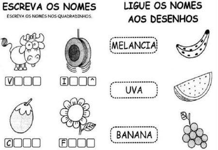 atividades de alfabetização para imprimir Escreva os Nomes