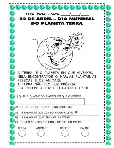 atividades sobre o planeta terra fáceis de fazer