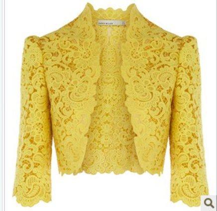 boleros femininos de renda amarelo com manga três quartos