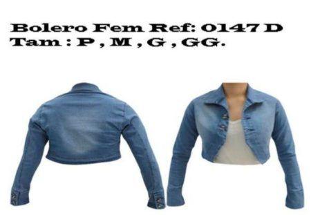 boleros femininos jeans com manga três quartos