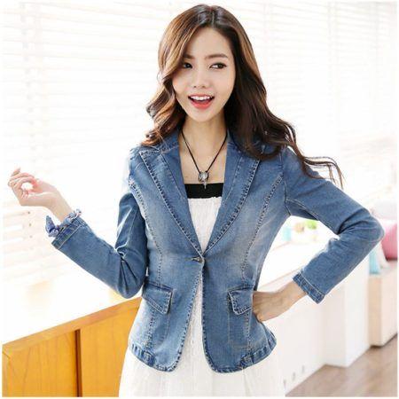 boleros femininos jeans con modelo blaser