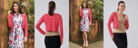 boleros femininos rosa com vestido e saia