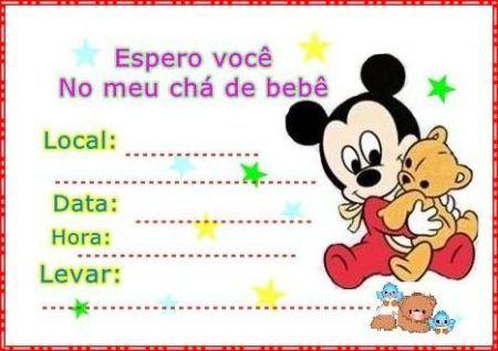 convites prontos para chá de bebê Mickey