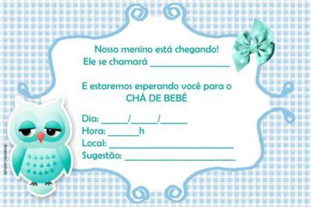 convites prontos para chá de bebê azul