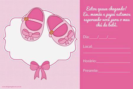 convites prontos para chá de bebê de menina