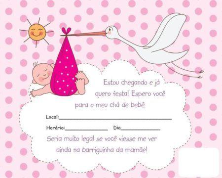 convites prontos para chá de bebê rosa