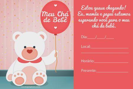 convites prontos para chá de bebê vermelho