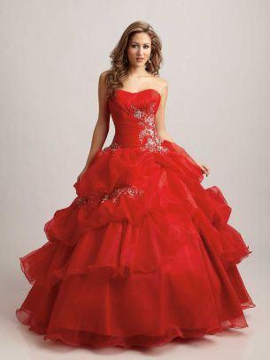 vestidos de 15 anos vermelho com babados grandes