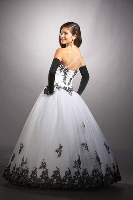 vestidos para aniversário de 15 anos branco e preto