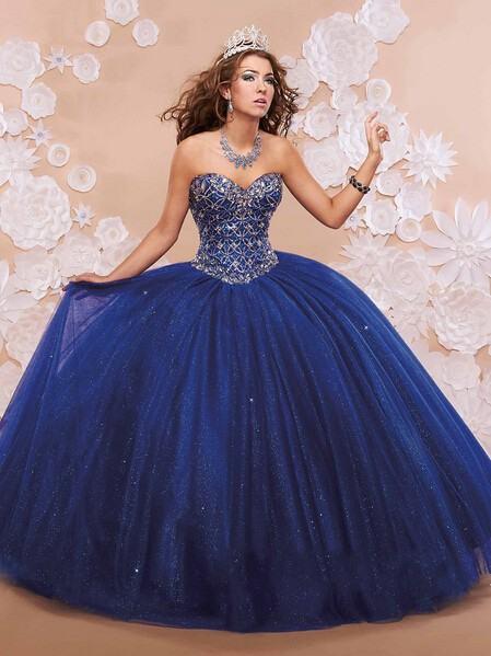 vestidos para debutantes azul escuro