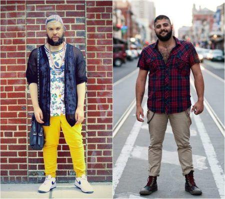 Na imagem abaixo temos dois exemplos com homens vestindo calças mais  ajustadas nas pernas 485f3bb4560