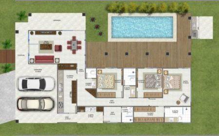 Casas em l veja dicas plantas quartos piscina bela for Casa moderna 80m2