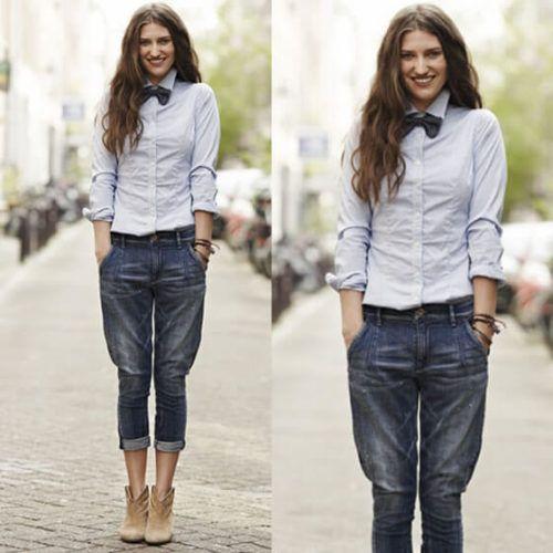 Gravata borboleta preta com camisa e calça jeans barra dobrada 44951409dad
