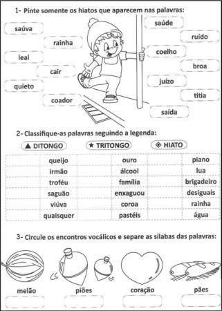 Atividades sobre Ditongo, Tritongo e Hiato (Encontros Vocálicos)