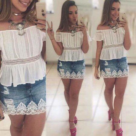 Customização de Saia Jeans com Renda na Barra, veja